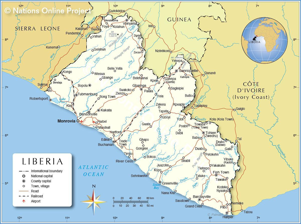 Africa Occidentale Cartina.Mappa Della Liberia Africa Occidentale Mappa Della Liberia
